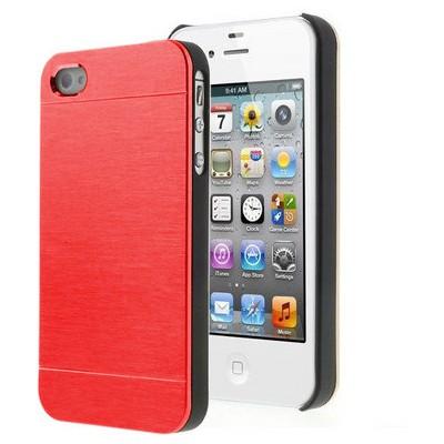 Microsonic Iphone 4s Kılıf Hybrid Metal Kırmızı Cep Telefonu Kılıfı