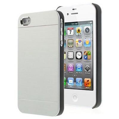 Microsonic Iphone 4s Kılıf Hybrid Metal Gümüş Cep Telefonu Kılıfı