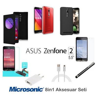 Microsonic Asus Zenfone 2 5.5'' Kılıf & Aksesuar Seti 8in1 Cep Telefonu Kılıfı