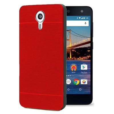 Microsonic General Mobile Android One 4g Kılıf Hybrid Metal Kırmızı Cep Telefonu Kılıfı
