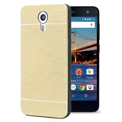 Microsonic General Mobile Android One 4g Kılıf Hybrid Metal Gold Cep Telefonu Kılıfı