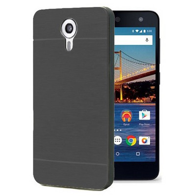Microsonic General Mobile Android One 4g Kılıf Hybrid Metal Siyah Cep Telefonu Kılıfı