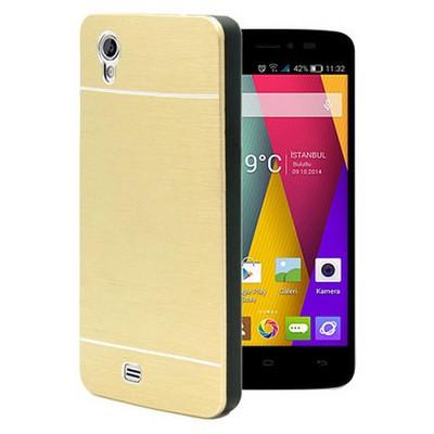 Microsonic General Mobile Discovery 2 Mini Kılıf Hybrid Metal Gold Cep Telefonu Kılıfı