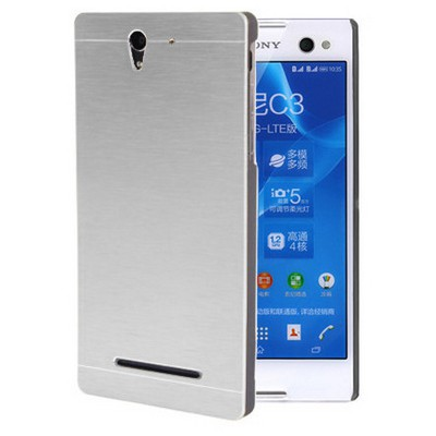 Microsonic Sony Xperia C3 Kılıf Hybrid Metal Gümüş Cep Telefonu Kılıfı