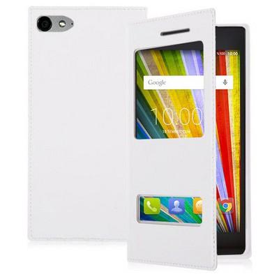 Microsonic Casper Via V9 Kılıf Dual View Delux Kapaklı Beyaz Cep Telefonu Kılıfı
