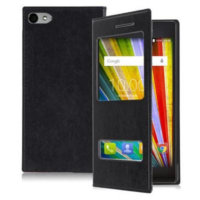 Microsonic Casper Via V9 Kılıf Dual View Delux Kapaklı Siyah Cep Telefonu Kılıfı
