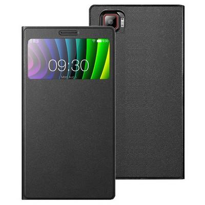 Microsonic Lenovo Vibe Z2 Pro Kılıf View Cover Delux Kapaklı Siyah Cep Telefonu Kılıfı