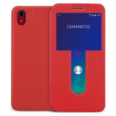 Microsonic Lenovo S850 Kılıf View Cover Delux Kapaklı Kırmızı Cep Telefonu Kılıfı