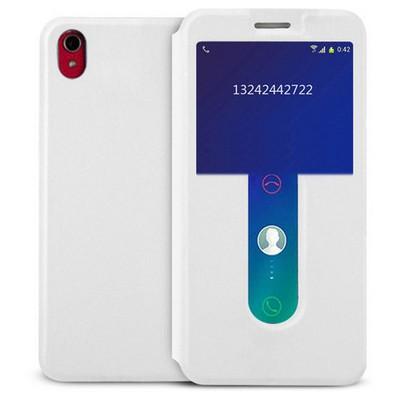 Microsonic Lenovo S850 Kılıf View Cover Delux Kapaklı Beyaz Cep Telefonu Kılıfı