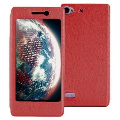 Microsonic Lenovo Vibe X2 Kılıf Full View Delux Kapaklı Kırmızı Cep Telefonu Kılıfı