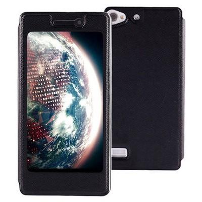 Microsonic Lenovo Vibe X2 Kılıf Full View Delux Kapaklı Siyah Cep Telefonu Kılıfı