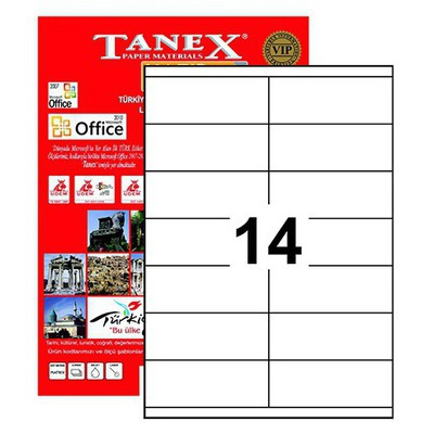 Tanex Yazıcı Etiketi 105x40 Mm 1400 Adet Model Tw-2614