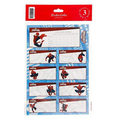Spider Man Spiderman 3'lü Ders Programlı Etiket Okul Etiketleri