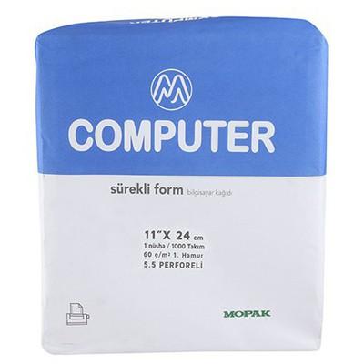 """Mopak 11"""" x 24 cm 1 Nüsha 5.5 Perforeli Sürekli Form 1000'li Özel Kağıt"""
