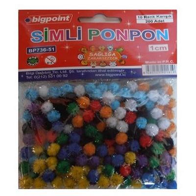 bigpoint-simli-ponpon-10-renk-karisik-1-cm-200-lu-paket