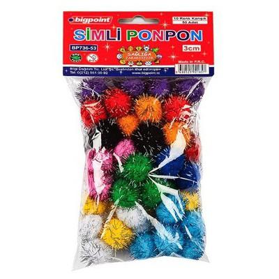 bigpoint-simli-ponpon-10-renk-karisik-5-cm-25-li-paket