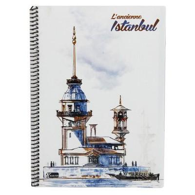 keskin-color-ancient-istanbul-a4-100-yaprak-pp-spiralli-cizgili-defter