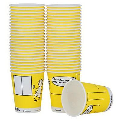 Ofix Karton Bardak Özel Baskılı Sarı 7 Oz 50 Adet Kullan At Malzemeler