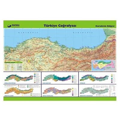 Gurbuz Yayınları Türkiye Coğrafyası - Karadeniz Bölgesi 70x100cm