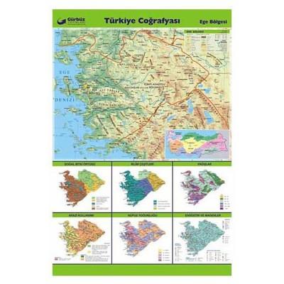 Gurbuz Yayınları Türkiye Coğrafyası - Ege Bölgesi 70x100 Cm Tahta & Pano