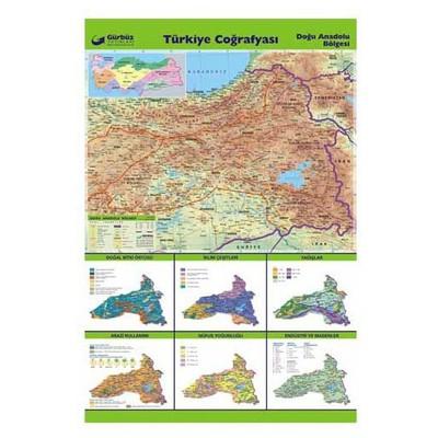 Gurbuz Yayınları Türkiye Coğrafyası - Doğu Anadolu Bölgesi 70x100cm Tahta & Pano