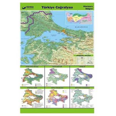 Gurbuz Yayınları Türkiye Coğrafyası - Marmara Bölgesi 70x100 Cm Tahta & Pano