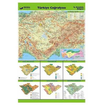 Gurbuz Yayınları Türkiye Coğrafyası - Iç Anadolu Bölgesi 70x100 Cm