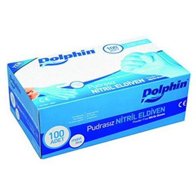 Dolphin Muayene Eldiveni Pudrasız Nitril Mavi 100 Adet Temizlik Eldivenleri