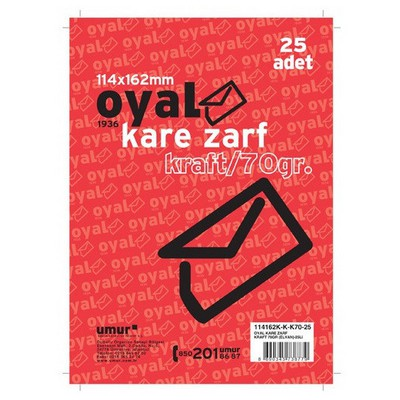 Oyal Kare Zarf Kraft Elvan 114 X 162 Mm 70 Gr 25'li Paket Zarflar