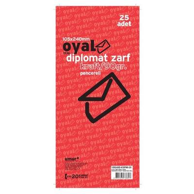 Oyal Pencereli Diplomat Zarf Kraft Slk 105 X 240 Mm 90 Gr 25'li Paket Kare Elvan ve Cd Zarfı