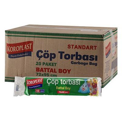 Koroplast Çöp Poşeti Standart Battal Boy 72 X 95 Cm 1 Koli 10 Adet Çöp Torbaları