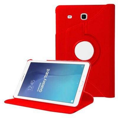 Microsonic 360 Rotating Stand Deri Samsung Galaxy Tab E 9.6'' T560 Kılıf Kırmızı Tablet Kılıfı