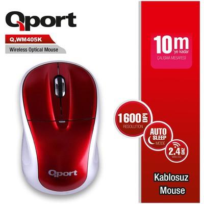Qport Q-WM405K Kırmızı Kablosuz Mouse