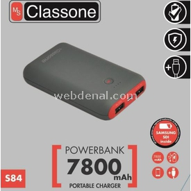 Classone S84-red S84 7800mah Power Bank Samsung Sdı Taşınabilir Şarj Cihazı