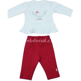 Bebetto K1146 2'li Ayılı Bebek Takımı Kırmızı 6-9 Ay (68-74 Cm) Erkek Bebek Takım