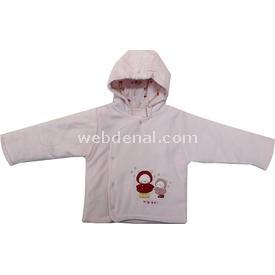 Bebetto K1160 Kapşonlu Kadife Elyaflı Bebek Hırkası Pembe 6-9 Ay (68-74 Cm) Hırka, Yelek, Kazak