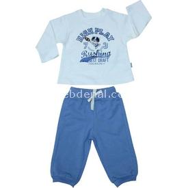 Bebetto K1133 Penye 2li Takım Champ Air Crew Mavi 6-9 Ay (68-74 Cm) Erkek Bebek Takım