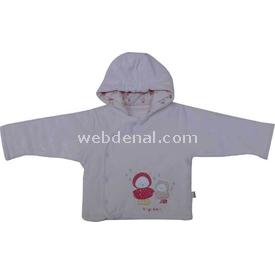 Bebetto K1160 Kapşonlu Kadife Elyaflı Bebek Hırkası Somon 9-12 Ay (74-80 Cm) Hırka, Yelek, Kazak