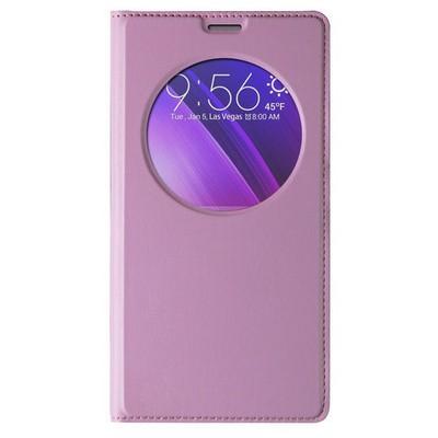 Microsonic Circle View Slim Deri Asus Zenfone 2 (5.5'') Kılıf Akıllı Pembe Cep Telefonu Kılıfı
