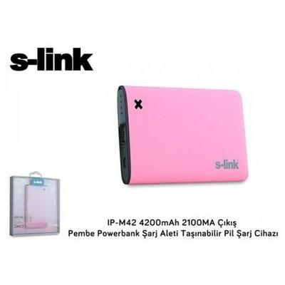 S-Link Ip-m42 4200mah 2100ma Çıkış Pembe Powerbank Taşınabilir Pil Şarj Cihazı Taşınabilir Şarj Cihazı