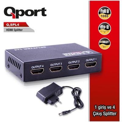 Qport Q-spl4 Q-spl4 Full Hd 1 Giriş 4çıkışlı Hdmı Splıtter (sinyal Çoğaltıcı) Ses ve Görüntü Kabloları