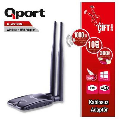 Qport Q-w730n Q-w730n 300 Mbps 11n Harici Usb 5 Dbi Çift Anten Wıreless Adaptör Network Kablosu