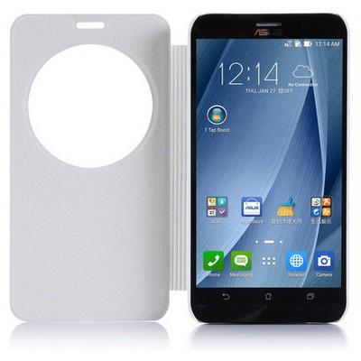 Microsonic Asus Zenfone 2 (5.5'') Kılıf Circle View Delux Kapaklı Akıllı Beyaz Cep Telefonu Kılıfı