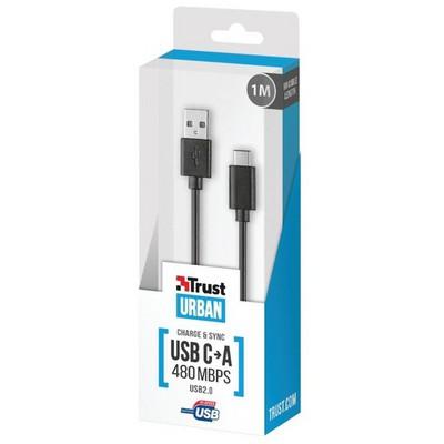 Trust 20445 TYP C 1m USB 2.0 Data ve Şarj Kablosu Güç Kablosu