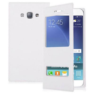 Microsonic Samsung Galaxy A8 Kılıf Dual View Delux Kapaklı Beyaz Cep Telefonu Kılıfı