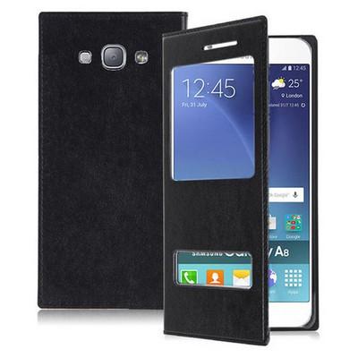 Microsonic Samsung Galaxy A8 Kılıf Dual View Delux Kapaklı Siyah Cep Telefonu Kılıfı