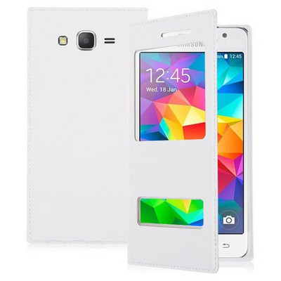 Microsonic Samsung Galaxy Grand Prime Kılıf Dual View Delux Kapaklı Beyaz Cep Telefonu Kılıfı