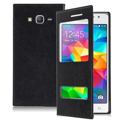 Microsonic Samsung Galaxy Grand Prime Kılıf Dual View Delux Kapaklı Siyah Cep Telefonu Kılıfı