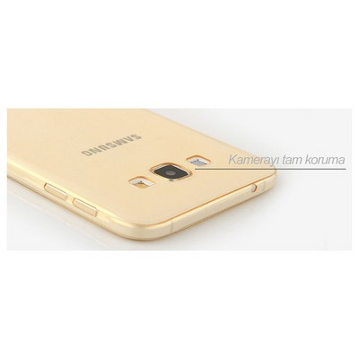 Microsonic Samsung Galaxy A8 Kılıf Transparent Soft Gold Cep Telefonu Kılıfı