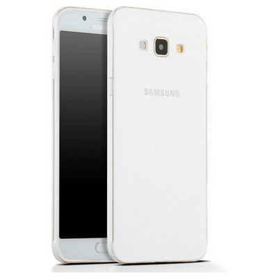 Microsonic Samsung Galaxy A8 Kılıf Transparent Soft Beyaz Cep Telefonu Kılıfı